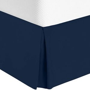 """Bed skirt 14"""" pleated navy NWT"""